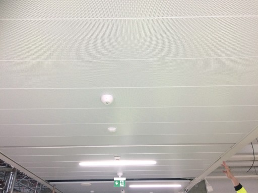 Väre Worksite survey: ceiling on the corridor