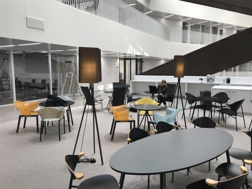 Finom lights have been placed at two locations inside the new Väre building